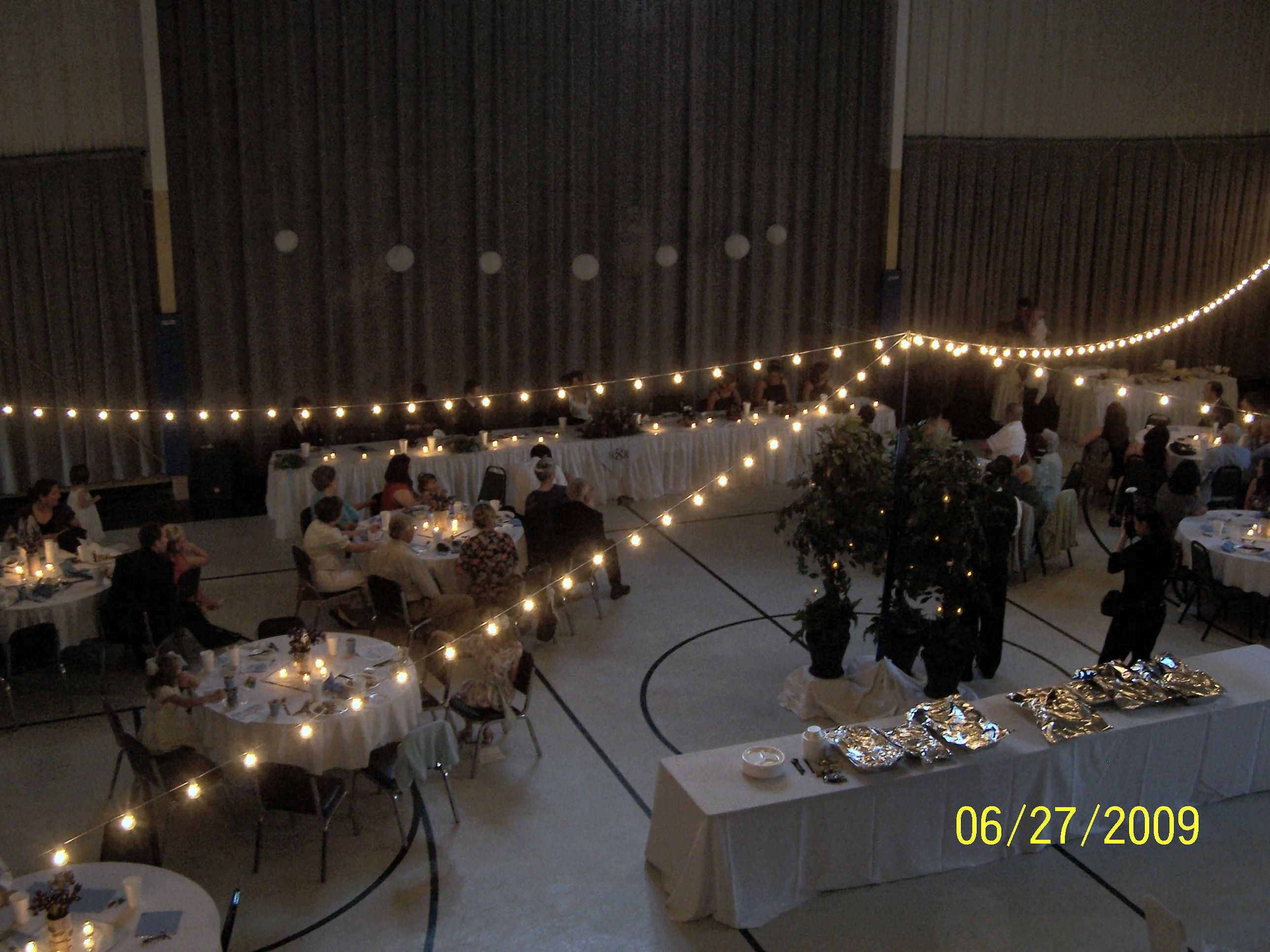 The New Gym decorated for wedding reception